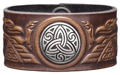 Leather Bracelet Cuff 36mm Celtic Birds Brown with Concho Trinity Snap Fasteners Nickel Free (19 Centimeters) Celtic-Craft 'Leather Bracelets'. $34.95. Snaps: Brass / nickel free. Color: brown antique