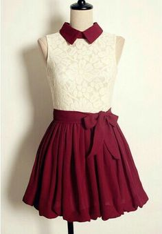 Maroon & lace dress with a cute collar. Love the style and color. 33 Lovely Outfits That Will Inspire You This Summer – Maroon & lace dress with a cute collar. Love the style and color. Pretty Outfits, Pretty Dresses, Beautiful Dresses, Pretty Clothes, Cute Clothes, Kawaii Clothes, Casual Dresses, Short Dresses, Prom Dresses