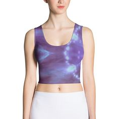 Items similar to Galaxy Print Tank Top- Astronomy Constellation Print Crop Top - All over print shirt - Real Hubble Image - Outer Space Science shirt - on Etsy Crop Top Shirts, Crop Tops, Love Clothing, Hot Outfits, Spandex Material, Active Wear For Women, S Models, Trending Outfits, How To Wear
