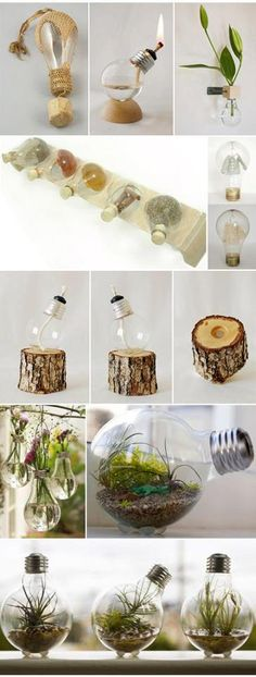 Display Christmas lights in a whole new, non-traditional way this year - in wine bottles! An LED light string can transform the wine bottle display into a lasting and useful memento! Light Bulb Art, Light Bulb Crafts, Fun Crafts, Diy And Crafts, Craft Projects, Projects To Try, Creation Deco, Ideias Diy, Diy Room Decor