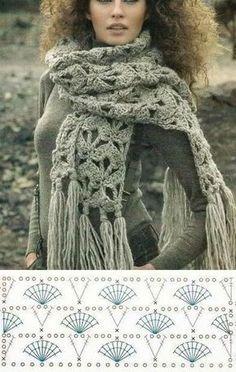 Shawl Crochet Patterns Part 6 - Beautiful Crochet Patterns and Knitting Patterns Shawl Crochet, Crochet Scarf Diagram, Crochet Scarf Tutorial, Crochet Scarves, Crochet Clothes, Crochet Lace, Crochet Stitches, Crochet Afghans, Knitting Patterns