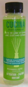 Lime Zest and Cypress Diffuser Refill by Cucina. $14.00. Head Notes: Tantalizing, slightly acidic Lime Zest. No DE/DEH phthalate, alcohol, formaldehyde or benzene. Base Notes: Cypress, Musk. Heart Notes: Aquatic Flowers. Product not tested on animals. No animal-source ingredients. 4.2 fl oz. Designed to refill any diffuser set, this fragrance will imbue your kitchen or any other room of your choosing with a Mediterranean-fresh scent.  One bottle of fragrance is enough to revi...