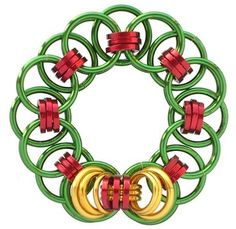 Chain Maille Christmas Wreath - a free tutorial by Sarah Austin. Made using anodised aluminium jump rings including square profile rings.