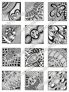 PDF Digital Collage Sheet, Black and White Images, Zentangle Inspired Art, PDF for Scrapbooking, Jew Zentangle Drawings, Doodle Drawings, Pencil Drawings, Sketchbook Drawings, Doodle Patterns, Zentangle Patterns, Tangle Doodle, Marquesan Tattoos, Cover Tattoo