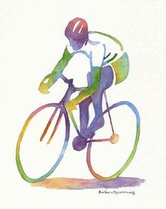 "#Bicycle #Bike #Racer #Sports #Art #Print #Watercolor #Technique #Wall #Decor #Athlete #Birthday #Personalized #Gift. I used a technique of Mingling the watercolors. Before you add a second color and while the first is still wet, clean your brush, load with another color, and lightly touch the edge of your brush to the previous color. Let them ""mingle"" and enjoy the result! © 2013 by Barbara Rosenzweig, matted 11x14 art print of original Free Shipping US. Etsy"