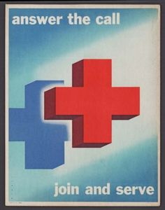 50s RED CROSS TABLE-STAND SIGN - ANSWER THE CALL JOIN & SERVE- JOSEPH BINDER ART