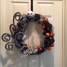 jack skellington nightmare before christmas wreath happy halloween made by awreathforyouca