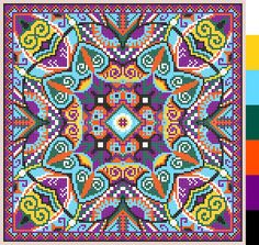 Illustration about Geometric square pattern for cross stitch ukrainian traditional embroidery, who like hand made and creation, pixel ornamental vector illustration. Illustration of ornamental, handmade, craft - 51062732 Geometric Embroidery, Hand Embroidery Designs, Diy Embroidery, Cross Stitch Embroidery, Embroidery Patterns, Cross Stitch Patterns, Knitting Patterns, Mandala, Tapestry Crochet