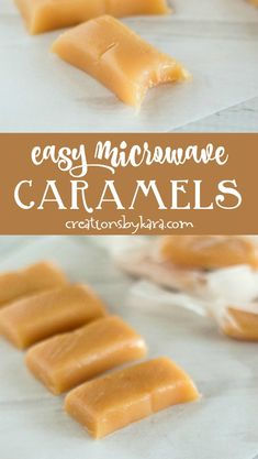 Easy microwave caramels made in 6 minutes. These rich and buttery caramels are perfect for holiday gift giving! Easy Candy Recipes, Fudge Recipes, Easy Desserts, Sweet Recipes, Delicious Desserts, Dessert Recipes, Carmel Desserts Easy, Easy Microwave Desserts, Dessert Ideas