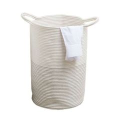 Dun elm cream and grey zig zag laundry hamper Made from cotton with a hand-made rope design, this white laundry basket features a collapsible structure and two large handles for easy transportation. Laundry Bin, Laundry Hamper, White Laundry Basket, Glass Shower Panels, Bin Bag, Marble Bath, White Rope, All White Kitchen, Creative Storage