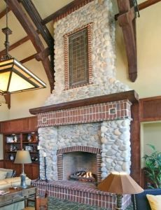 Fireplaces on pinterest 20 pins for Mixing brick and stone