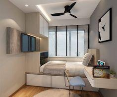 59 minimalist bedroom design ideas that looks more cool 32 Small Bedroom Designs, Small Room Design, Home Room Design, Small Room Bedroom, Home Bedroom, Home Interior Design, Bedroom Decor, Bedrooms, Kitchen Interior