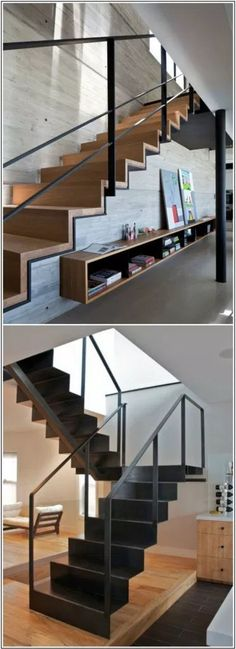 DIY Staircase Design Ideas 4 Times The Stair Decoration Would Make You Feel Amazed - Trend Crafts Railing Design, Staircase Design, Staircase Ideas, Interior Stairs, Interior Architecture, Escalier Design, Stair Handrail, Railings, Steel Stairs