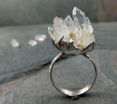 Raw Natural Arkansas Quartz Crystal Cluster Druzy Sterling Silver gemstone Statement Ring