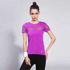 Women's Short Sleeve Knitted Exercise Lycra Round-Neck T-Shirt 0896-98