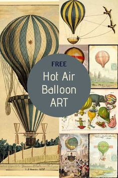 A beautifully fascinating collection of vintage hot air balloon art prints. From the beginning of air flight with the first manned balloon flight in 1783. #hotairballoon Large Balloons, Hot Air Balloons, Monkey In Space, Balloon Illustration, Balloon Flights, Art Prints, Free Printables, Dollhouse Ideas, Graphics