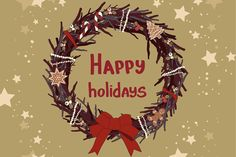 Christmas hand drawn wreaths. by Little A (Aigul) on Creative Market
