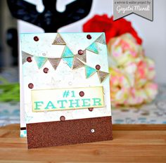 #1 Father Card - using Parentville Extras and Scenery: Rectangled & Triangled stamp sets.