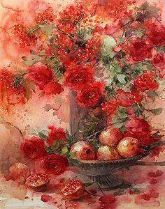 「ざくろ」 69.5×49.5cm永山裕子 Watercolor Flowers, Watercolor Paintings, Painting & Drawing, Watercolour, Feather Art, Environment Concept Art, Pictures To Paint, Art Plastique, Oeuvre D'art