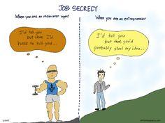 (Comic) Job Secrecy: Startup in the Closet Entrepreneur, Undercover Agent, Linux, Fail, Startup, Ruby Rails, Javascript, Microsoft Windows, Macbook