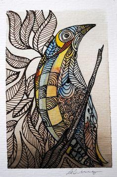 Aquarela 10 x 15 cm com moldura branca de PVC R$ 80,00