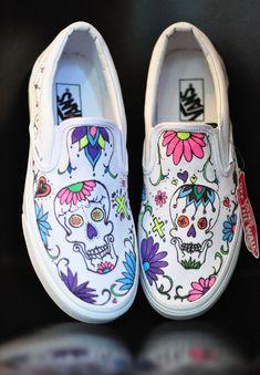 DIY Custom Sugar Skull Vans slip ons #VansCustomCulture