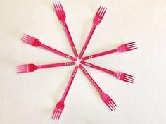 10 Forchette di plastica fucsia con strass rosa / di Partytude, €3.99