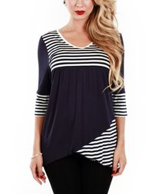 Look at this #zulilyfind! Blue & White Stripe Three-Quarter Sleeve Tunic by Jasmine #zulilyfinds