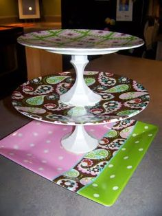 I want to make this!  Cute and simple! 3 tiered serving tray.