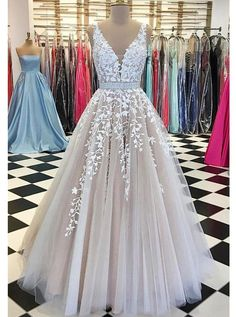 Champagne V-Neck Prom Gowns,Tulle Lace Bridal Dresses,Long Wedding Dress,Tulle Prom Dress,Elegant Ev V Neck Prom Dresses, Prom Dresses Online, Long Wedding Dresses, Formal Evening Dresses, Bridal Dresses, Tulle Wedding, Long Dresses, Homecoming Dresses, Gown Wedding