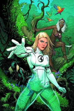 Fantastic Four cover featuring Sue Storm, Lady Black Panther and Storm by Frank Cho Marvel Comic Character, Marvel Comic Books, Marvel Art, Marvel Heroes, Comic Books Art, Comic Art, Frank Cho, Comic Book Artists, Comic Book Characters