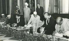 Prime Minister Nehru, the 14th Dalai Lama, President Rajendra Prasad and the 10th Panchen Lama in 1956 at New Delhi at the 2500th anniversary of the birth of the Buddha , India .