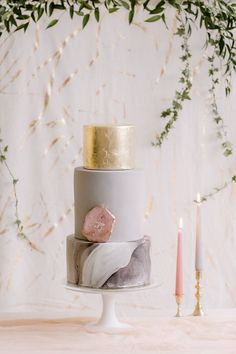 Blush, Grey and Gold Leaf - BLOVED Blog - Rebecca Goddard Photography - Styled and Directed by Helaina Storey Wedding Design - Suspended Floral Installation by Jennifer Pinder Flowers - Contemporary Stationery, Lancaster & Cornish silk back drop, table runners, garden roses, tablescape, tapered candles, marble wedding cake, rose quartz, blossom and crumb
