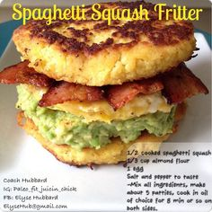 Spaghetti Squash Fritter!  Delicious!  -1/2 cooked spaghetti squash  -1/3 cup almond flour -1 egg - salt and pepper to taste https://www.facebook.com/TeamJERF