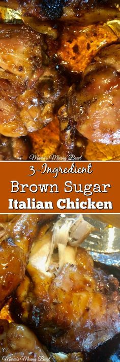 Brown Sugar Italian Chicken - Italian dressing mix, brown sugar and chicken. Ready in under 30 minutes! A favorite weeknight meal. Best Chicken Recipes, New Recipes, Dinner Recipes, Cooking Recipes, Favorite Recipes, Amazing Recipes, Turkey Recipes, 3 Ingredient Chicken Recipes, Healthy Recipes