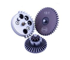 SHS Airsoft 13:1 Super High Speed Flat Gear Set AEG by SHS. $24.95. You can't describe SHS gears without using the words tough, reliable, and affordable.   For ultra high torque and speed setups, techs love the toughness of SHS gear sets.    Some of the craziest setups out there use them (with other SHS parts of course).  Their reliability comes from the high precision manufacturing process where they are CNC machined.  However, their affordability separates the...