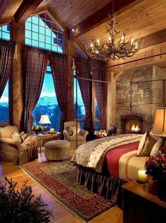 Small Master Bedroom, Modern Bedroom, Bedroom Rustic, Bedroom Décor, Romantic Bedroom Design, Lodge Bedroom, Winter Bedroom Decor, Home Design Decor, Home Decor