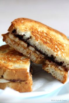Grilled PB Chocolate & Banana Sandwich | Recipe | With Style Grace | With Style & Grace