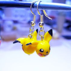 Polymer clay Pokemon Pikachu earrings by AnniCrafting on Etsy