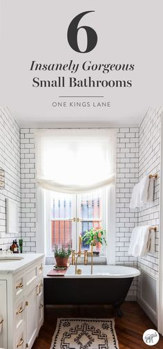 Love this beautiful small bathroom with a black clawfoot bathtub, white subway tiles with dark gray grout, brass bathtub faucet and cabinet hardware? See how to get the the look, and get inspired by five other stylish small spaces, here on One Kings Lane!