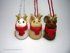 Quernus Crafts — Tiny Reindeer Mouse Tree Decoration clay