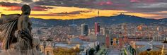 Barcelona, Catalunya al atardecer...desde el Montjuic