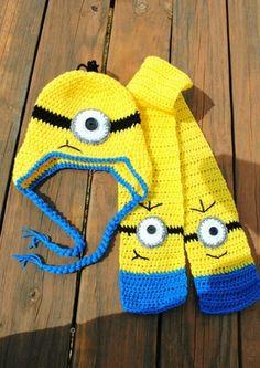 Crochet Beanie, Knitted Hats, Knit Crochet, Crochet Hats, Minion Crochet Patterns, Crochet Gloves Pattern, Minion Hats, Crochet Squares Afghan, Bead Crochet Rope