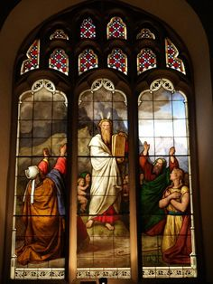 Description: Cambridge, England: Peterhouse: chapel stained glass window, Moses and Ten Commandments (1850s, overall design by Max Emanuel Ainmiller, figures largely work of Claudius Schraudolph and Heinrich von Hess, Royal School of Glass Painting, Munich)