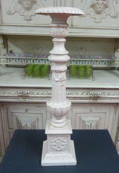 cream cast iron floor standing candlestick