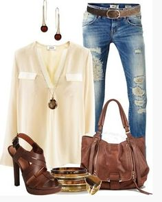 Love the bag, jeans and top. Love the shoes but would definitely do a pop of color in an accessory with this!