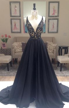 V Neck Evening Dresses, Prom Dress A-Line, Lace Black Prom Dress, Sexy Prom Dress, V-neck Evening Dresses Prom Dresses 2019 Prom Dresses 2016, V Neck Prom Dresses, Elegant Prom Dresses, Black Evening Dresses, Black Prom Dresses, Pretty Dresses, Sexy Dresses, Evening Gowns, Beautiful Dresses