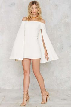 Nasty Gal Brushing Shoulders Cape Dress - Valentine's Day | Valentine's Day | Cocktail Dresses | White Dresses | Dresses | Party Clothes