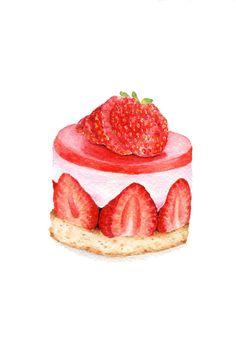 Pintura ORIGINAL  tarta de fresas arte de la por ForestSpiritArt, £20.00