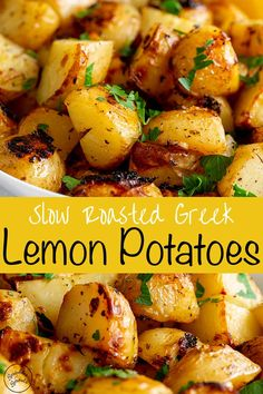 These authentic slow roasted Greek lemon potatoes are packed with delicious fresh zesty flavors of lemon, garlic, and oregano. They are so easy to make and are the perfect side dish for so many meals. An authentic greek recipe - the potatoes are cooked in broth, extra virgin olive oil, lemon juice, garlic, and oregano. The potatoes suck up all those flavors, to give you a potato that is amazingly tender on the inside, slightly crispy on the outside and so full of flavor! Potato Side Dishes, Vegetable Dishes, Good Side Dishes, Lamb Side Dishes, Vegan Side Dishes, Recipes Potatoes Side Dishes, Side Dish With Fish, Vegan Recipes With Potatoes, Sides With Fish